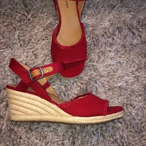 NWOB Lucky brand red canvas wedges